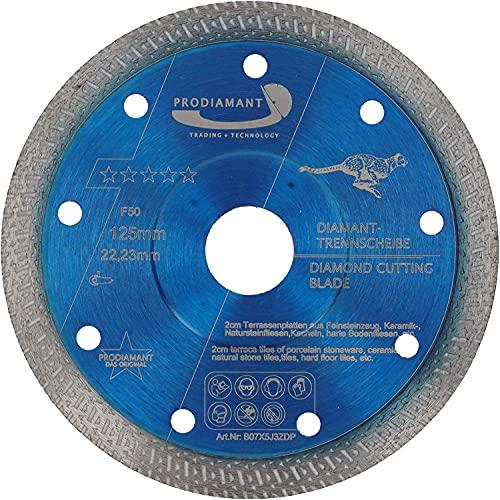 PRODIAMANT Profi Diamant-Trennscheibe Fliese Feinsteinzeug F50 extra dünn 125 mm x 22,2 mm für bis zu 20mm Plattenstärke