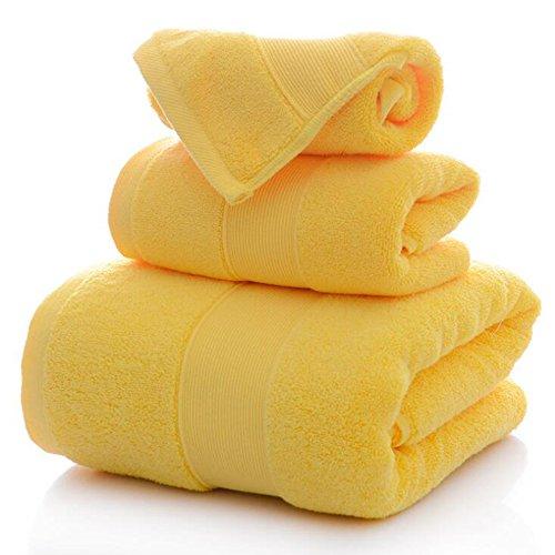 Juego de toallas suaves 100% algodón de 3 piezas fuerte absorbente y de secado rápido, 900 g/m², 1 toalla de baño, 1 toalla de mano, 1 toalla de cara (amarillo) ⭐