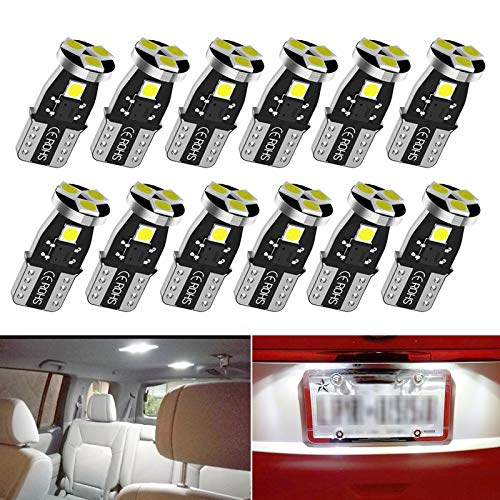 T10 194 LED Car Bulbs,192 LED Car Bulbs,168 LED Lights Bulb, 5smd 6000K White Led for Car Interior Dome Map Door Courtesy License Plate Lights W5W 2825 Led Lights bulbs, 12pcs