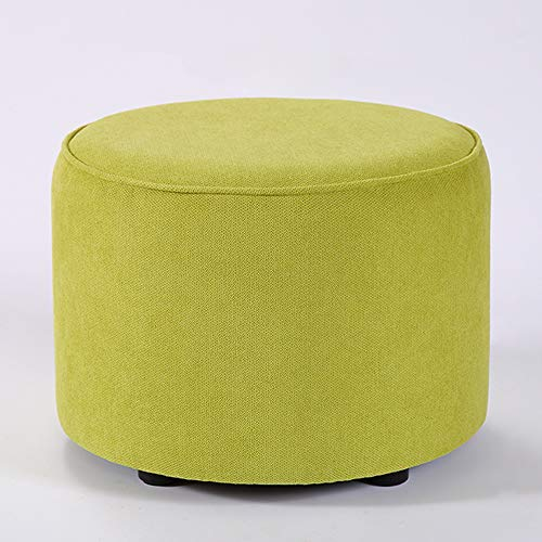 Modern Round Ottoman Foot Rest Stool, Soft Paded Ottoman with Breathe Fabric and Solid Wood Frame, Kids Stool Step Stool, Living Room Bedroom Hallway, Green