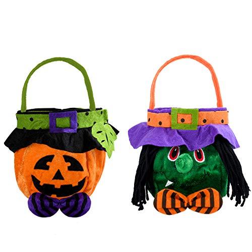 KATELUO Halloween Goodys Bolso,Calabaza Bruja Truco o Convite Bolso,Caramelo Bolsa,Bolsa de Halloween - Bolsa emergente para Recoger Dulces,o galletas,Halloween para Niños Fiesta Decoración (2PCS)