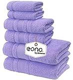 Eono by Amazon, Toallas de SPA y Hotel Juego de Toallas de 6 Piezas, 2 Toallas de baño, 2 Toallas de Mano y 2 toallitas(Rosa Purpura)