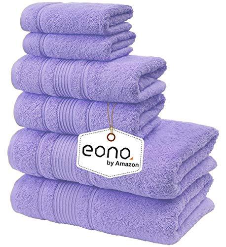 Eono von Amazon, Spa & Hotel Handtücher 6 Stück Handtuch-Set, 2 Badetücher, 2 Handtücher und 2 Waschlappen (Lila Rose)
