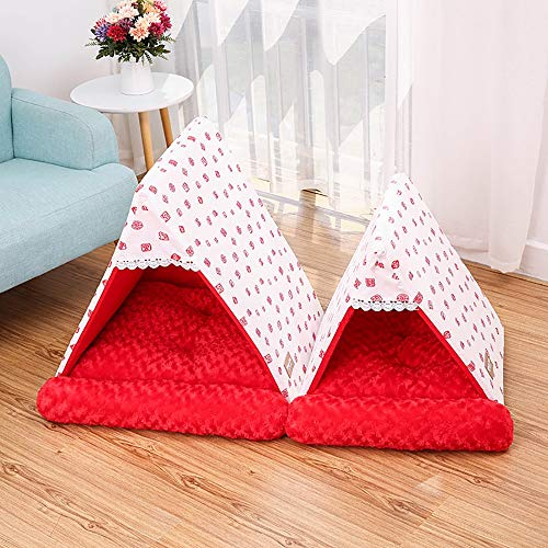 TOMSSL Rosa rot abnehmbare Baumwolle + Rose Velvet Triangle Pet Nest Katzenstreu Hundehaus warme Dicke Zwinger Mat Puppy Pet Supplies (Size : S)