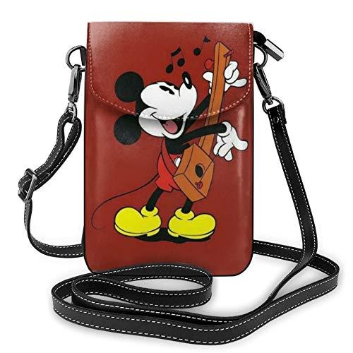 Micky Maus spielt die Violine, kleine Umhängetasche für Frauen, Mini-Schulter-Handtaschen, Handy-Börse mit Kreditkartenfächern