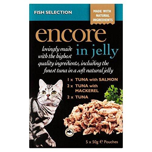 Encore - Bolsa para gatos de selección de peces en gelatina (5 x 50 g, 2 unidades)