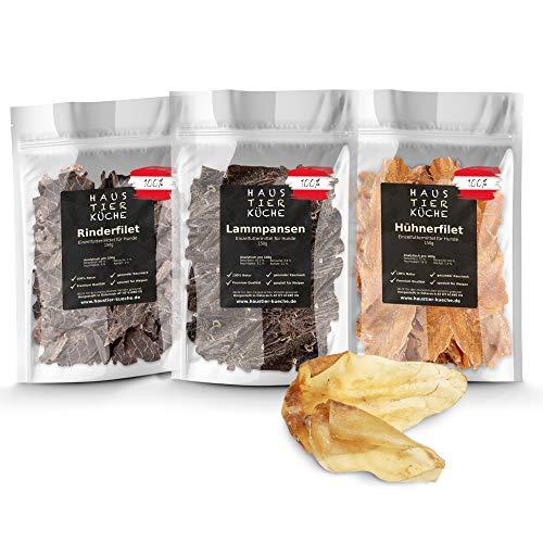 Haustier-Küche® - Premium Welpen Mix Natur Kauartikel 4er Set | extra verträglich für Hunde mit empfindlichen Mägen | Rind, Huhn, Lamm + 2 XL Rinderohren (Welpen Mix)