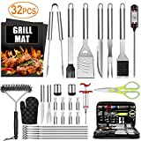 32PCS BBQ Grill Accessories Tools Set, Stainless Steel Grilling Tools with Carry Bag, Thermometer,...
