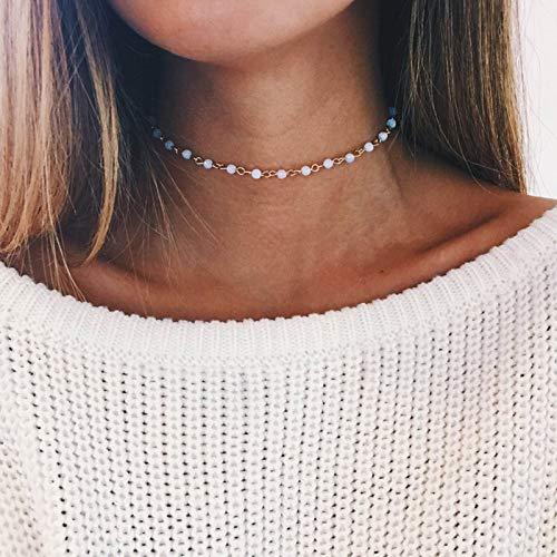 TseenYi Gargantilla de Monstone de arco iris, collar de cadena de oro de cristal corto, collar de clavícula boho, joyería para mujeres y niñas (oro)