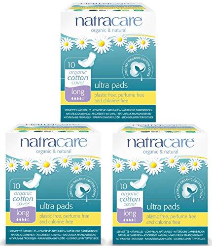 Compresas de algodón con alas (3 paquetes) de la marca Natr