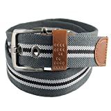 BT.CE Men 'S Belt Cinturon De Tela Tejidas Cinturón Hebilla Universal Raya Gris