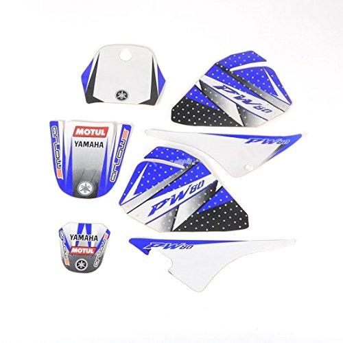 Arlows Ensemble d'autocollants 3M pour Yamaha PW80 modèles de 88 à 06 Bleu/blanc.