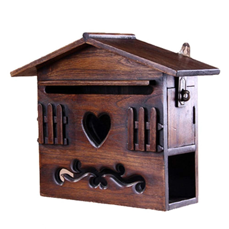 DS-ドンシェンショップ メールボックス - チーク、壁掛けソリッドカーブドスモールハウス多機能メールボックス、ヴィラ、中庭、家屋に適して - 25X9.5X26.5cm &&