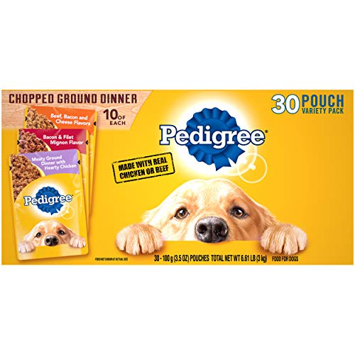 PEDIGREE CHOPPED GROUND DINNER Adult Wet Dog Food Variety Pack, Beef, Bacon & Cheese Flavor, Bacon and Filet Mignon Flavor, and Meaty Ground Dinner with Hearty Chicken Flavor, (30) 3.5 oz. Pouches
