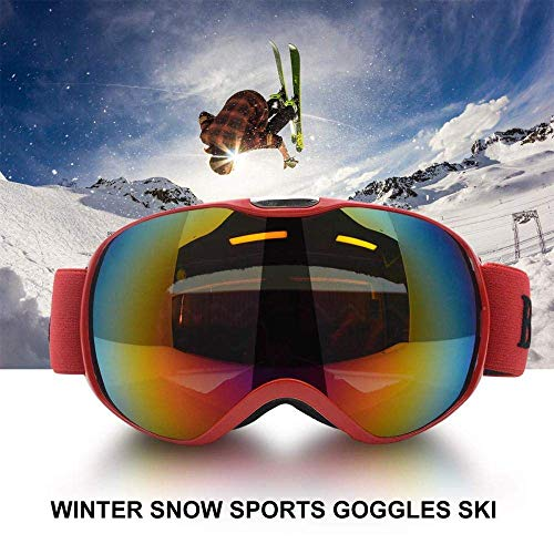 Riloer Gafas de esquí al aire libre para niños y niñas, protección UV400, cortavientos, anti-UV y anti-nieve (rojo)