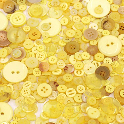Esoca 650Pcs Yellow Buttons for Crafts Mixed Art Buttons Bulk Resin Yellow Craft Buttons for Arts, DIY Crafts, Decoration