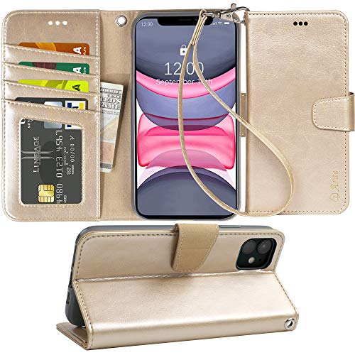 Arae Case for iPhone 11 PU Leather Wallet Case Cover [Stand Feature] with Wrist Strap and [4-Slots] ID&Credit Cards Pocket for iPhone 11 6.1 inch 2019 Released (Champagne Gold)