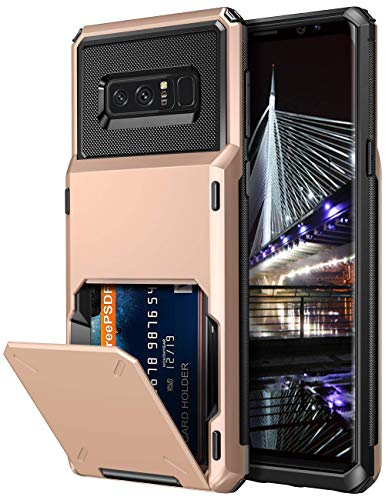 Vofolen Case for Galaxy Note 8 Case Wallet 4-Slot Pocket Credit Card ID Holder Flip Door Anti-Scratch Dual Layer Protective Bumper TPU Rubber Armor Hard Shell Cover for Samsung Galaxy Note 8 Rose Gold