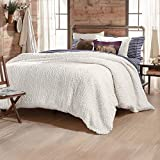 G.H. Bass Plush Sherpa Cable Knit Fluffy Soft Solid Pinsonic Cozy Comforter Set, King, Ivory