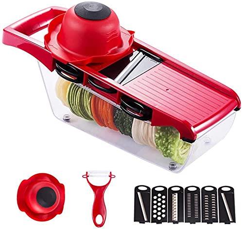 Cortador de verduras y cortador de dados con 6 cuchillas intercambiables de acero inoxidable rojo