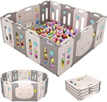 SINCHER Foldable Baby Playpen 14 Panel Foldable Thicken Playpenwith Storage Bag, Door with Saf-et-y Lock, 14 Rubber...