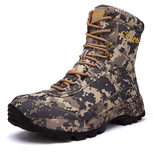 JFGX Zapatillas de Camuflaje para Hombre Tapas Altas Botas tácticas de Tobillo cálidas atléticas con Cordones 40-46