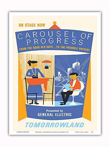 Pacifica Island Art Poster, Disneyland Tomorrowland's Carousel of Progress Vintage 9 x 12 in Mehrfarbig
