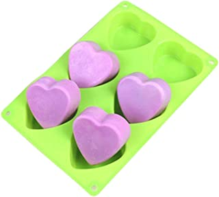 ESA Supplies 6 Cavities Heart Soap Mold Silicone Cake Baking Mold Cake Pan Muffin Cups Handmade Soap Moulds Ice Cube Tray DIY Mold