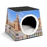 Casa portátil para Mascotas de Interior,Tienda de campaña,Suministros para Mascotas,Famosa Plaza de españa,Sevilla,españa.,Viejo,hito,Cachorro o Gato