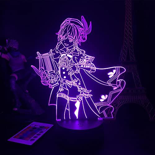 3D Led Luz de noche Talbe Illusion Lamp Genshin Impact Figurine Juego de personajes Barbatos Rgb Cumpleaños Amigo Decoración-Attack On Titan 7_No Remote