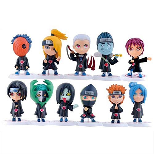 qingyin Naruto Figur - 11 Stück Q Version Naruto Akatsuki Puppenmodell, Anime Puppen Figur PVC Spielzeug, Naruto Figur Sammlerstück Anime Charakter Dekoration