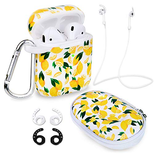 Airpods Case, Filoto Airpods Accessories for Apple Airpods 2&1 Charging Case Protective Silicone Cover with Keychain/Strap/Earhooks/Storage Carrying Bag, Best Gift for Girls & Women, Lemon