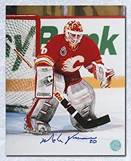Mike Vernon Calgary Flames Autographed Goalie Mask 8x10 Photo - Signed Hockey Pictures