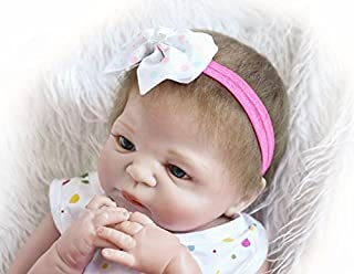 Lilith 23 Inch 57cm Realistic Looking Baby Girl Doll Awake Soft Silicone Full Body Vinyl Lifelike Reborn Baby Dolls Toddler Magnet Pacifier Anatomically Correct (Reborn Doll Girl)