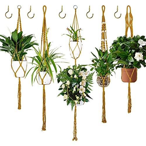 Ninonly Colgador Plantas 5 Piezas Macramé para Colgador Macetas Macramé Perchas de Plantas...