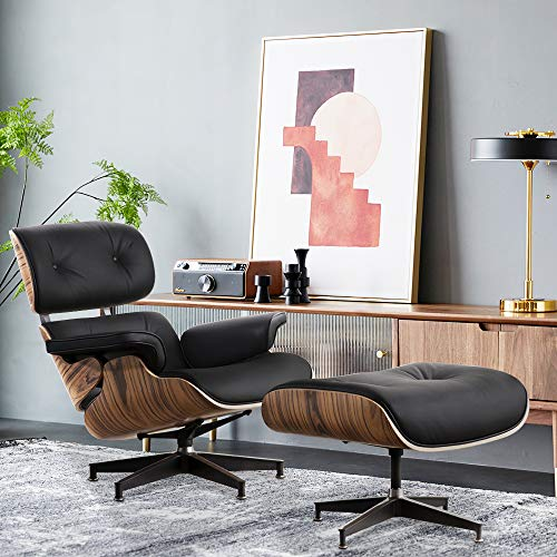 Genuine Leather Lounge Chair with Ottoman, Mid Century Recliner Replica with 8-Layer Solid Wood and Heavy Duty Aluminum Base for Living Room Study Lounge Office (Palisander)