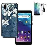 Phone Case Compatible with ZTE Blade Vantage-2 Case/Quest-5 Case (z3351s) +Tempered Glass with Flex Gel Cover (Flex Gel B-White Flower +Tempered Glass)