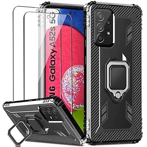 IMBZBK Kompatibel mit Samsung Galaxy A52 4Gund5G/ A52s 5G Hülle + [2 Stück] Panzerglas Schutzfolie,[360 Grad Drehung Fingerring Ständer][Military Grade Schutz] Silikon TPU-Gehäuse-Schwarz