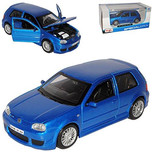 Volkwagen Golf IV R32 Blau 3 Türer 1997-2003 1/24 Maisto Modell Auto mit individiuellem Wunschkennzeichen