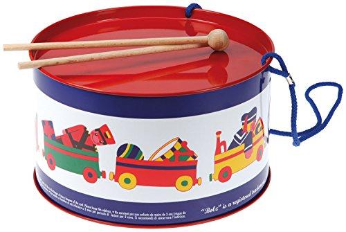 Bolz 52608 - Blechtrommel Spielkiste, Ø 20 cm, Kindertrommel aus Blech mit 2 Schlägel und Tragegurt, Instrument für Kinder...