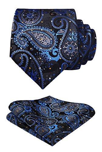 HISDERN Herren Weihnachten Krawatte Blumen Paisley Hochzeit Krawatte & Einstecktuch Set