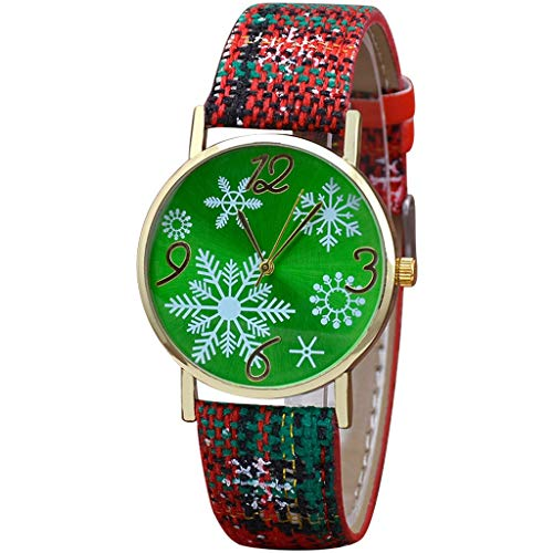 COOKI Watches Women's Christmas Snowflake Quartz Analog Watch Round Dial Wrist Watches with Leather Band (B)