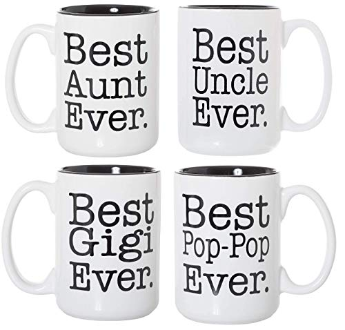 Best Aunt Uncle Gigi Pop-Pop Ever Black Inlay 15oz Deluxe Double-Sided Coffee Tea Mugs Set