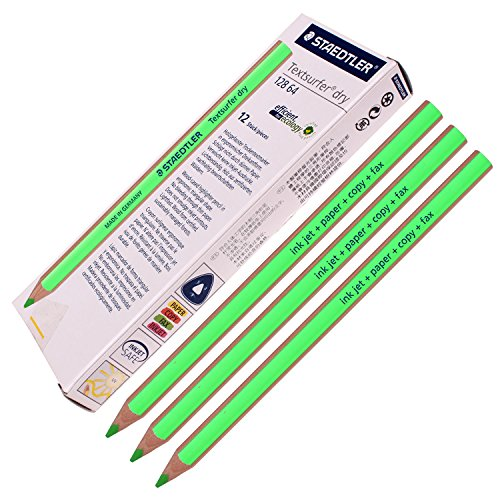 Staedtler Textsurfer Dry Highlighter Pencil 128 64 Drawing for Writing Sketching Inkjet,paper,copy,fax (Pack of 12 Green)