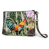 Bolso cosmético de embrague impermeable suave Gallo colorido en el prado Cartera de cuero de embrague de cuero con cremallera para mujeres Niñas