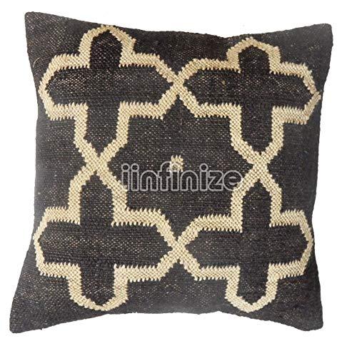 iinfinize Funda de almohada bohemia de lana de yute, funda de almohada cuadrada para sofá de estilo vintage Kilim funda de cojín para sala de estar, sofá hippie, almohada bohemia (negro, 4)