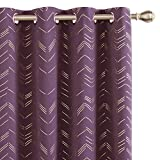 Amazon Brand - Umi Cortinas Salon Opaca de Dibujos Líneas con Ollaos 2 Piezas 140x260cm Púrpura