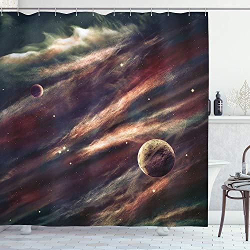 ABAKUHAUS Weltraum Duschvorhang, Nebel-Planet-Wolke, mit 12 Ringe Set Wasserdicht Stielvoll Modern Farbfest & Schimmel Resistent, 175x180 cm, Getrocknete Rose Elfenbein