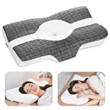Elviros Cervical Pillow, Memory Foam Bed Pillows for Neck Pain Relief, Adjustable Ergonomic Orthopedic Contour Support Pillow for Sleeping, Back, Stomach, Side Sleeper (Dark Grey)