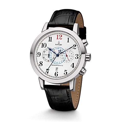 Kronsegler Amundsen 90°0'0''S Herren Chronograph & Telemeter Stahl-Weiss/schwarz